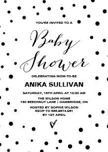 Black and white baby shower invitations announcements zazzle black white confetti dots baby shower invitation filmwisefo