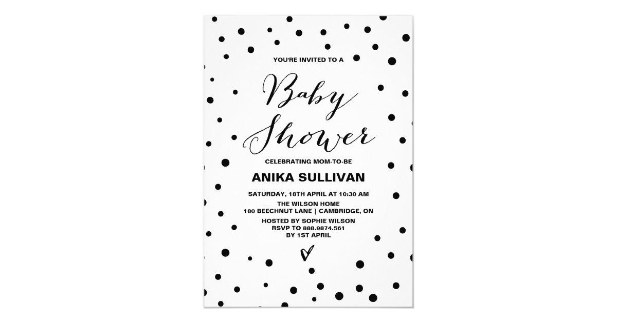 Black & White Confetti Dots Baby Shower Invitation
