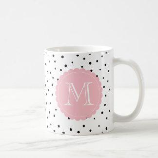 Black & White Confetti Dots Blush Custom Monogram Coffee Mug
