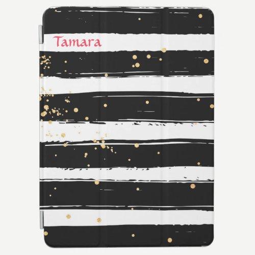 Black White Confetti Stripes iPad Pro Cover