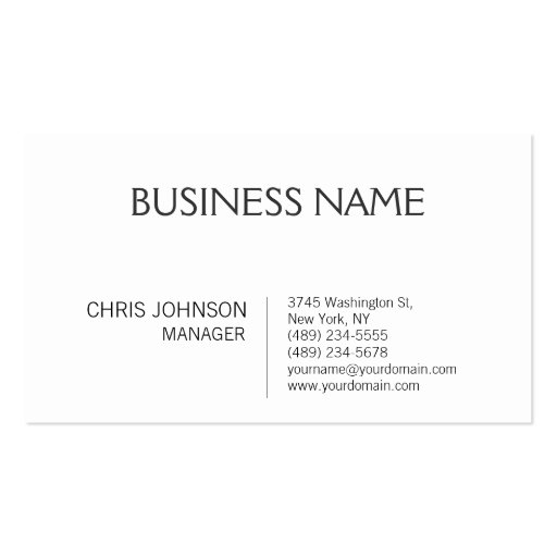 Black white contemporary manager business card for Business card manager