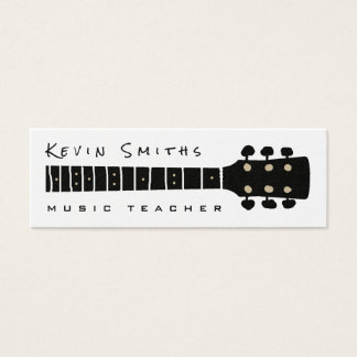 black / white cool and modern music teacher mini business card
