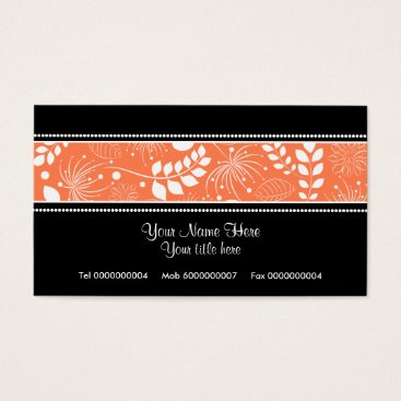 Professional Business Black, white coral floral border business card