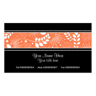 Black white coral floral border business card