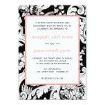 """Black/White/Coral Wedding Invitation 5"""" X 7"""" Invitation Card"""