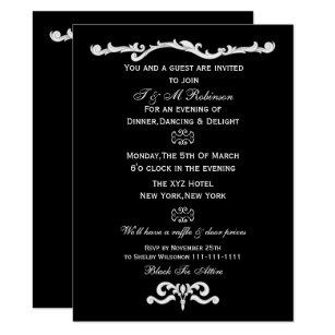 black white corporate event invitations zazzle