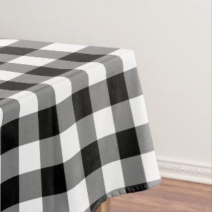 Black White Country Check Home Decor Tablecloth