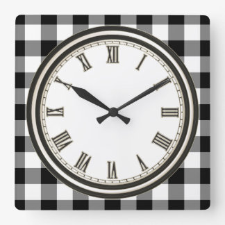 Black white Country check pattern kitchen clock