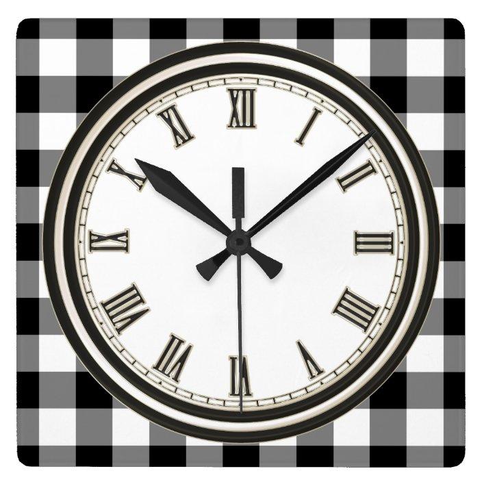 Black White Country Check Pattern Kitchen Clock Zazzle Com