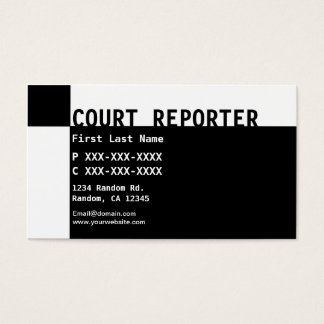 Black white Court Reporter business cards