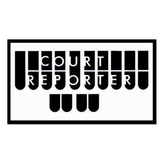 Black white court reporter custom business cards