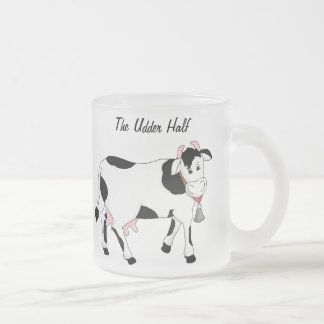 Black & White Cow Frosted Glass Coffee Mug