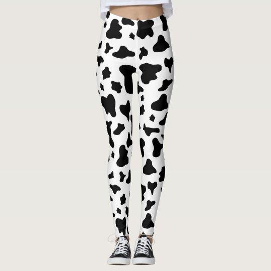 1fa07ba91fa08b Black & White Cow Print Leggings | Zazzle.com