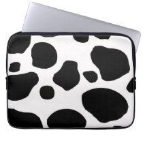 BLACK WHITE COW SPOTS ANIMAL PRINT COMPUTER SLEEVE