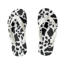 Black & White Cow Spots Animal Print Pattern Kid's Flip Flops
