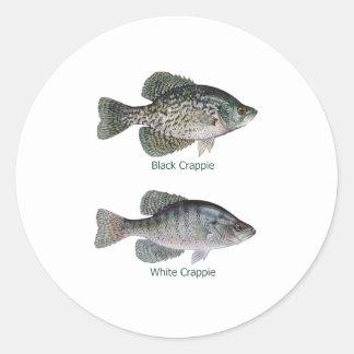 Black - White Crappie (titled) Classic Round Sticker
