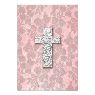 Black White Cross Girly pink Floral Lace Pattern Personalized Invite