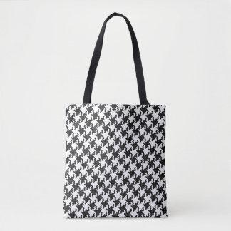 Black&white cross-stitch Houndstooth Pied-de-Poule Tote Bag