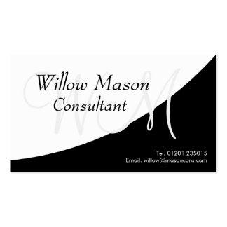 Black White Curved Monogram Business Card