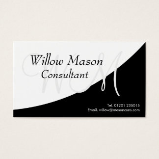 Black White Curved, Monogram Business Card