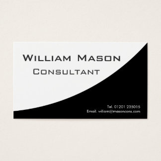 Black White Curved, Professional Business Card
