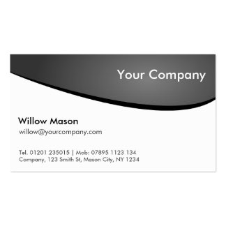 Black & White Curved, Professional Business Card