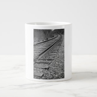 Black & White Curved Train Tracks Giant Coffee Mug