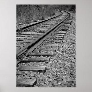 Black & White Curved Train Tracks Poster