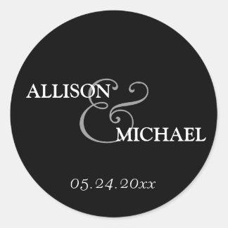 Black white custom ampersand wedding favor label