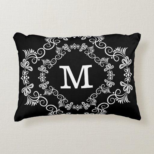Decorative Monogram Pillows : Black White Custom Monogram Decorative Decorative Pillow Zazzle
