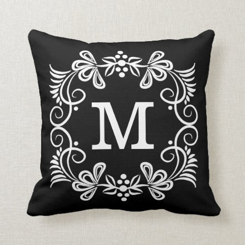 Black White Custom Monogram Decorative Pillow