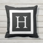 "Black White Custom Monogram Outdoor Pillow<br><div class=""desc"">Customizeable modern and trendy black and white monogram throw pillows or cushions. Personalize your gift by adding your own initial. Choose your own font and colors to make it your own. Choose your fabric including outdoor pillows which are coated with an UV treatment that's sturdy and mildew resistant. This classic...</div>"