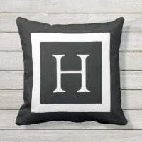 Black White Custom Monogram Outdoor Pillow