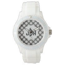 Black White Custom Monogram Silicone Sport Watch