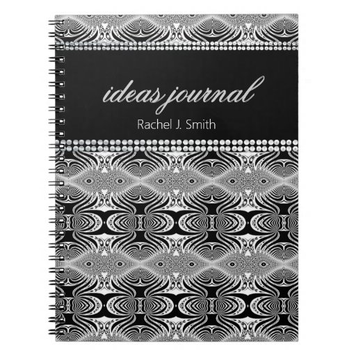 Black White Custom Name Trippy Ideas Notebook