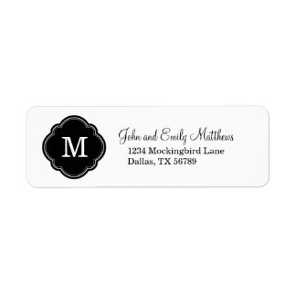 Black & White Custom Personalized Monogram Label
