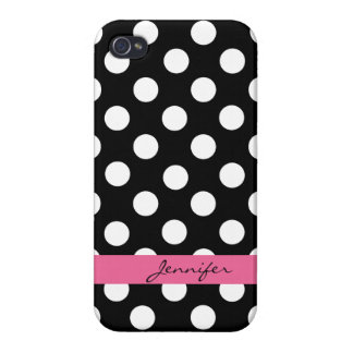 Black & White Custom Polka Dot iPhone 4 Case