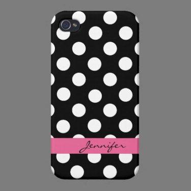 Black & White Custom Polka Dot iPhone 4 Case