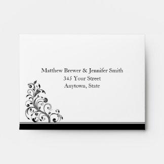 Black & White Custom RSVP Card Envelope w/ Address