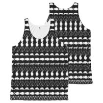 Black White Cute Animals Pattern All-Over-Print Tank Top