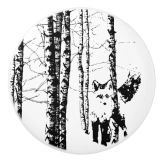 Black White Cute Fox in Birch Forest Animal Nature Ceramic Knob