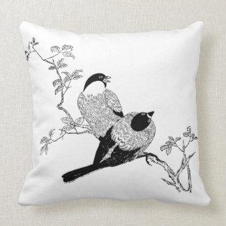 Black & White Cute Outdoor Pillows - Bird Couple
