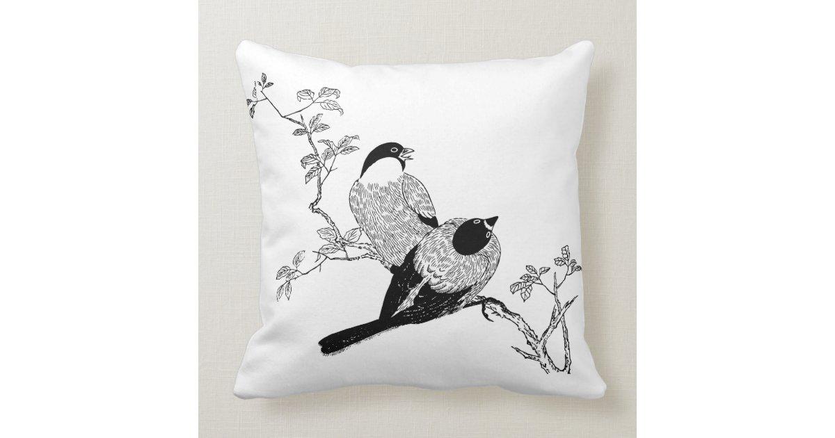Cute Black Pillows : Black & White Cute Outdoor Pillows - Bird Couple Zazzle.com