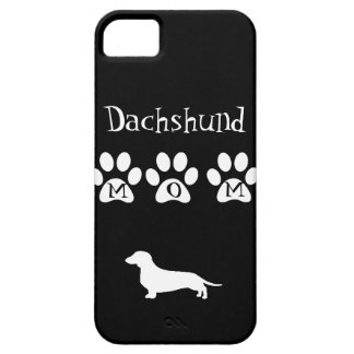 Black/White Dachshund Mom iPhone SE/5/5s Case