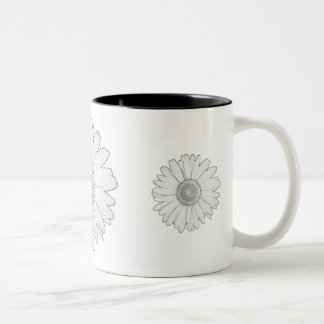 black white daisy mug