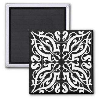 BLACK & WHITE Damask 2 Inch Square Magnet
