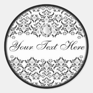 Black White Damask and Diamond Classic Round Sticker
