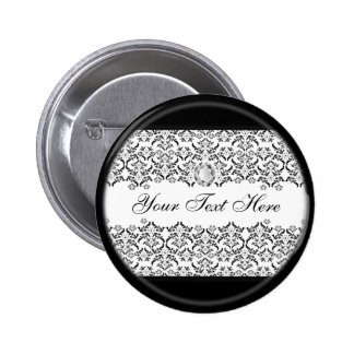 Black White Damask and Diamond Pinback Button