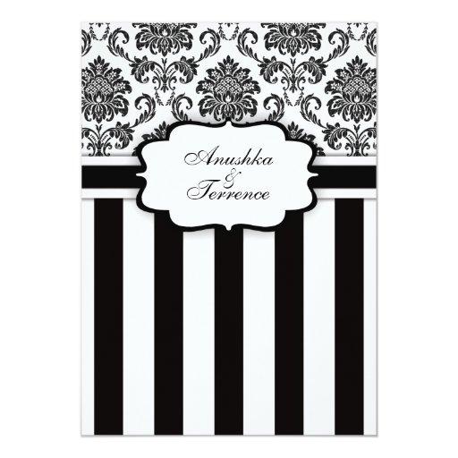 black white damask and stripes wedding invitation zazzle With black and white striped wedding invitations zazzle