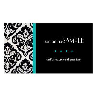 Black & White Damask, Aqua Teal Business Card